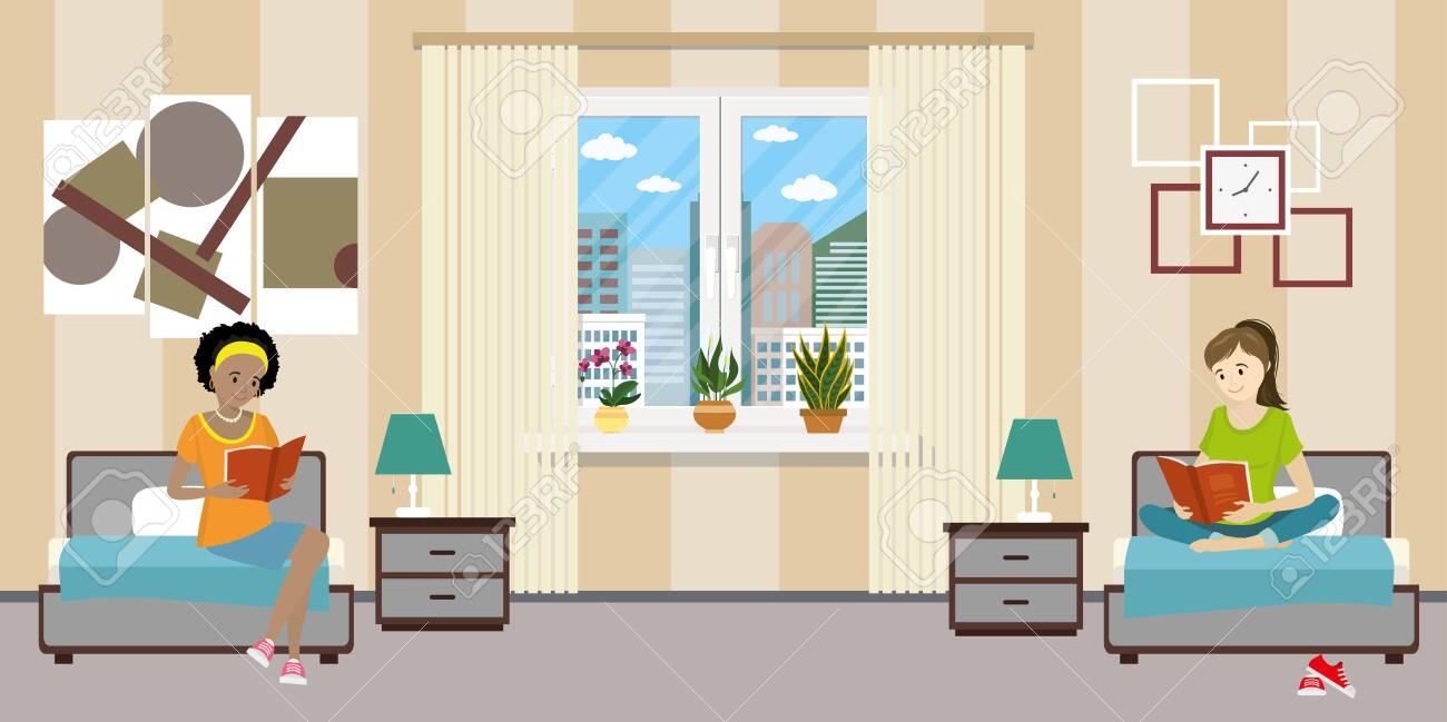Cartoon teen female students in dormitory room. Girl characters - 145059142