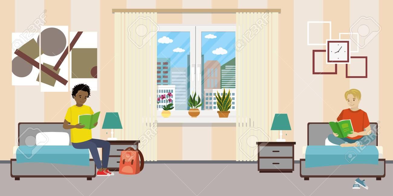 Cartoon teen male students in dormitory room. - 145258430