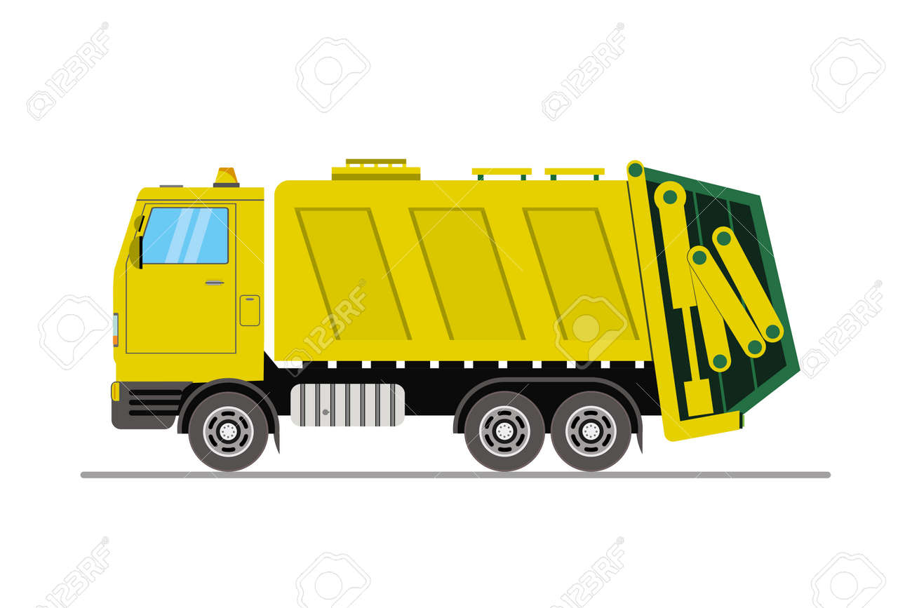 Yellow garbage truck side view, cartoon vehicle isolated on white background, flat vector illustration - 168650486