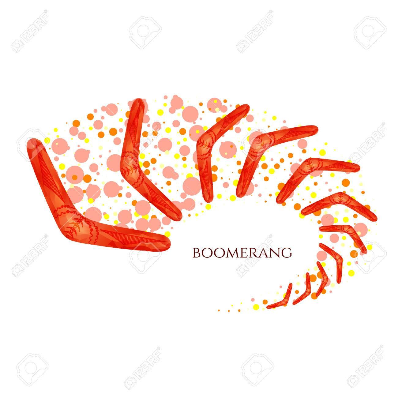 Boomerang In Movement Imitation Of Watercolor Boomerang As A