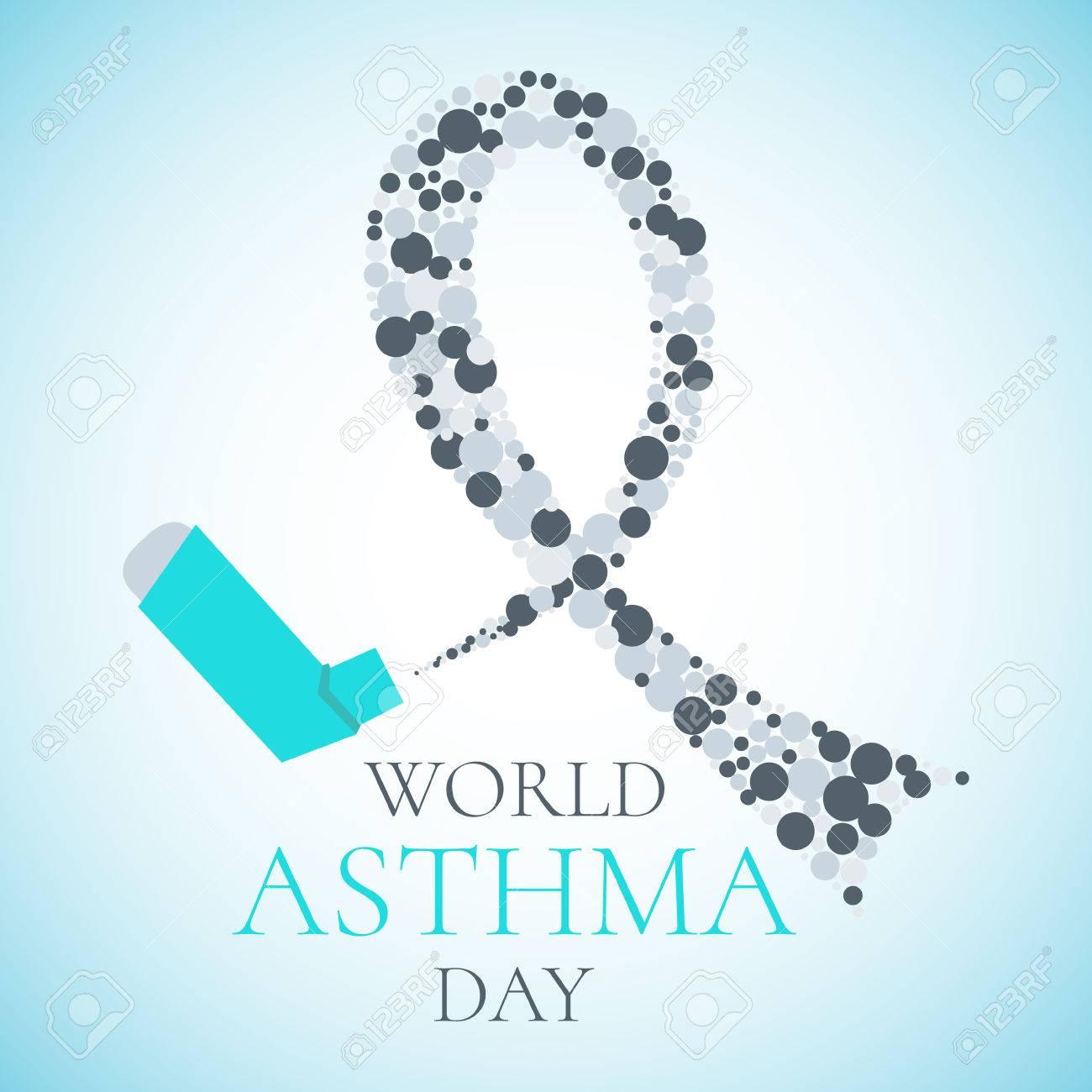 Concepto Del Día Mundial Del Asma Con Un Inhalador De Aerosol Y Una ...