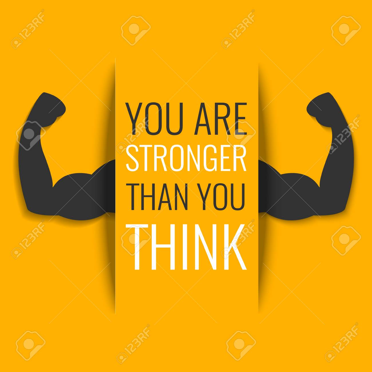 You Are Stronger Than You Think Inspirational Quote On Yellow