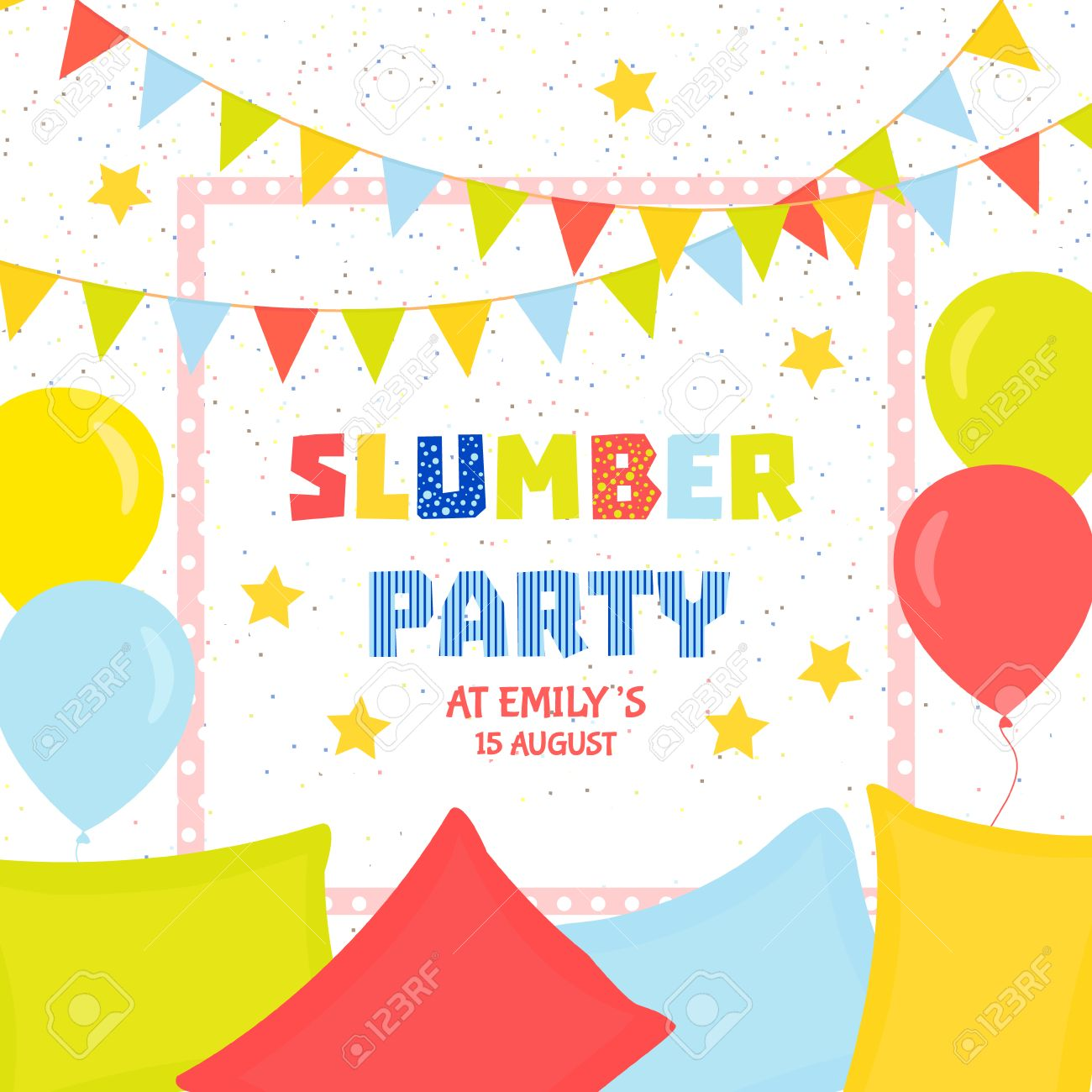 Slumber Party Invitation Template With Colorful Flags, Balloons ...