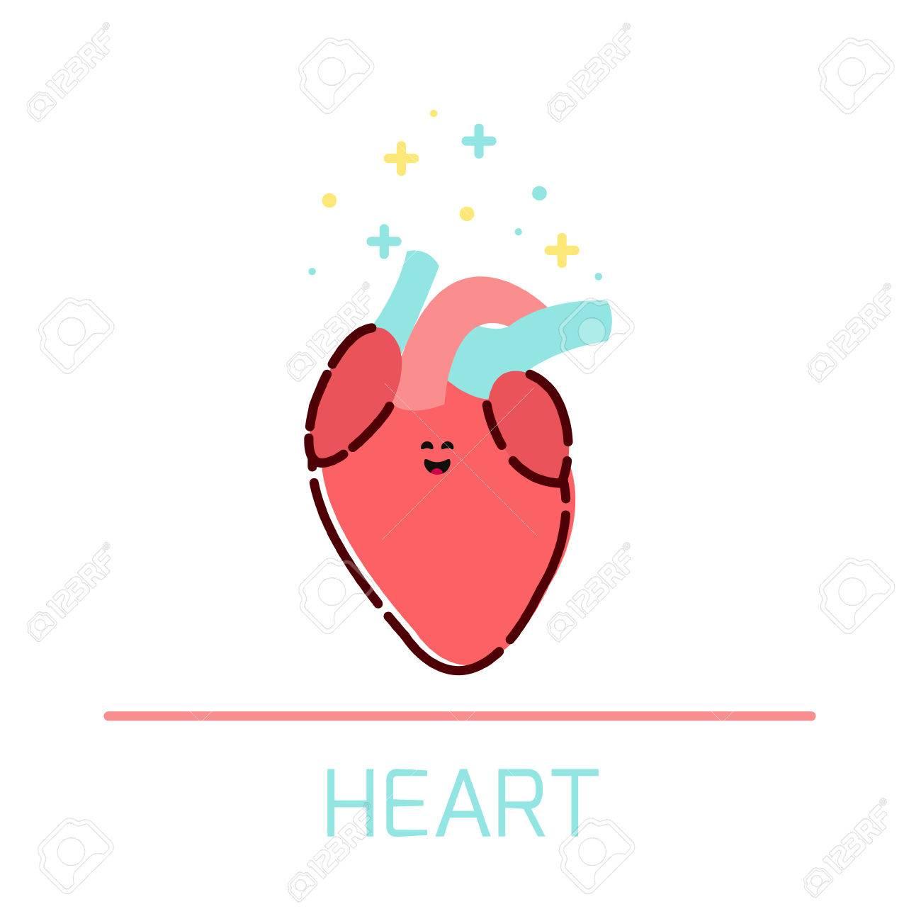 Nettes Gesundes Herz-Symbol Im Cartoon-Stil. Herz-Cartoon-Figur. Der ...