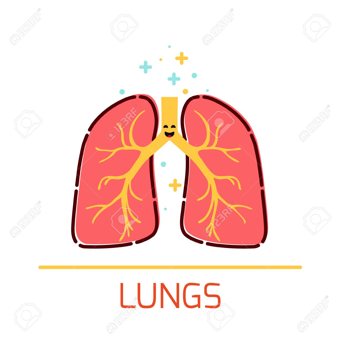 Cute Healthy Lungs Icon Made In Cartoon Style. Lungs Cartoon ...