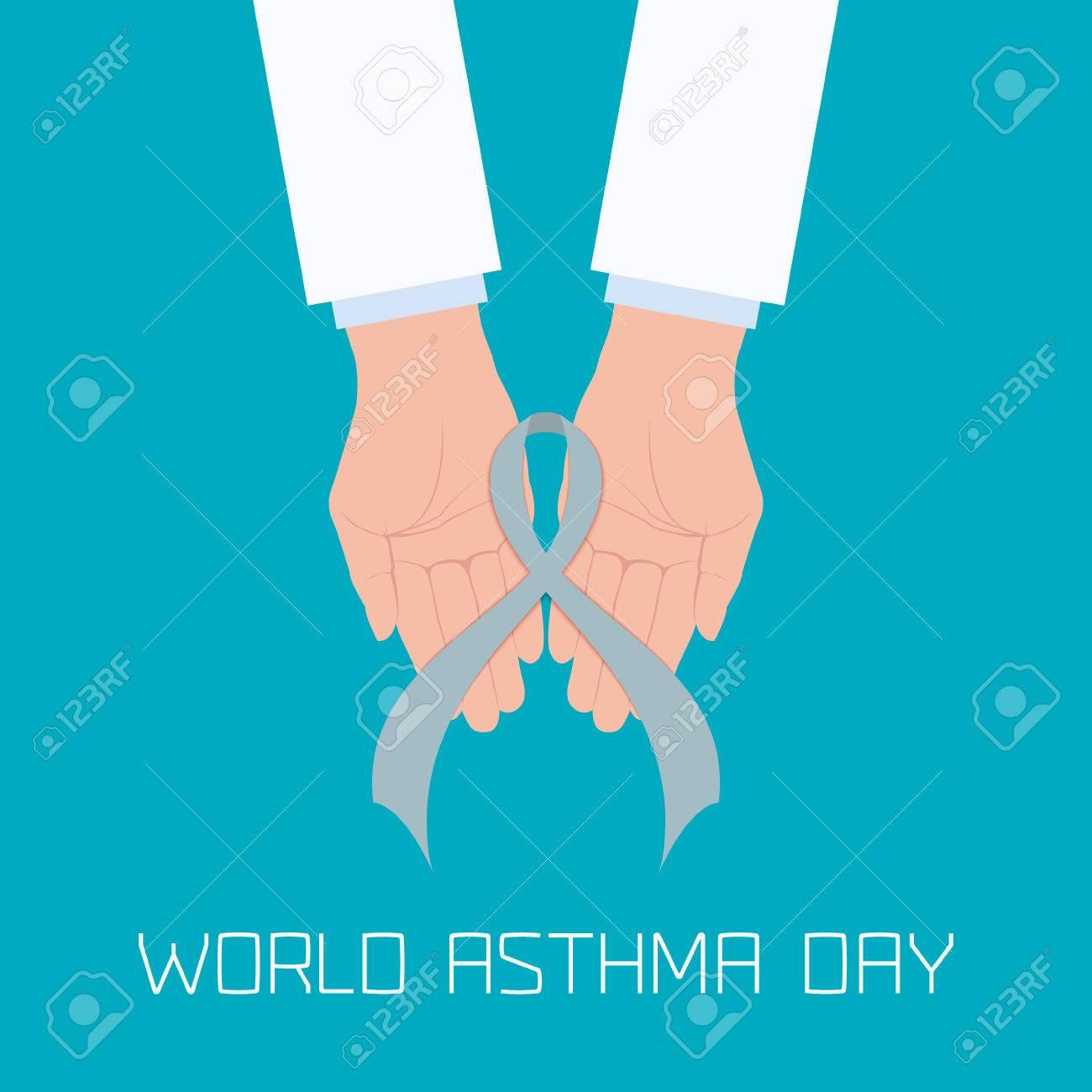 Concepto Del Día Mundial Del Asma Con Las Manos Del Médico La ...