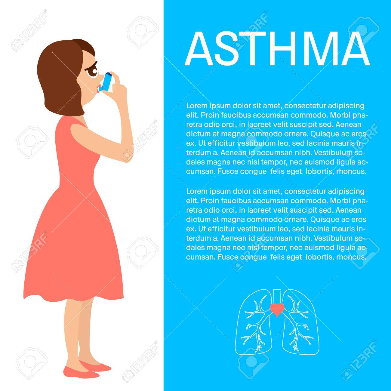 Woman Using A Spray Inhaler To Stop Asthma Attack. Asthma Design ...