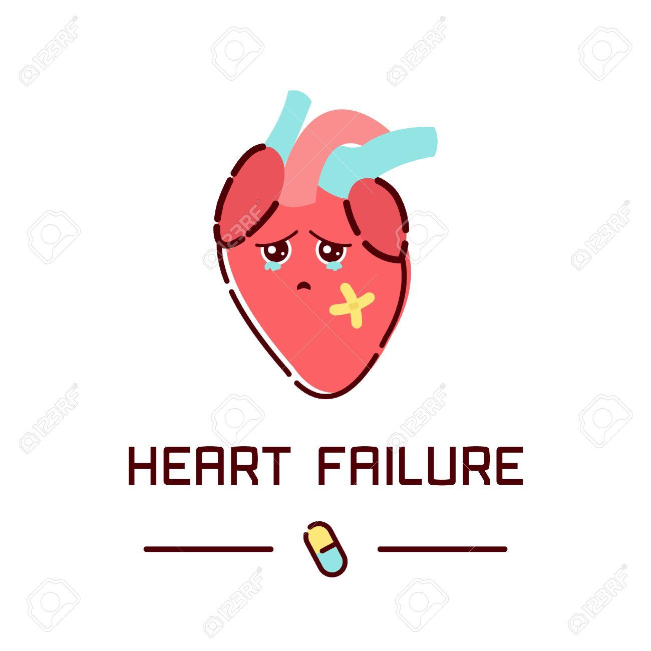 Heart Failure Disease Awareness Poster With Sad Cartoon Heart ...