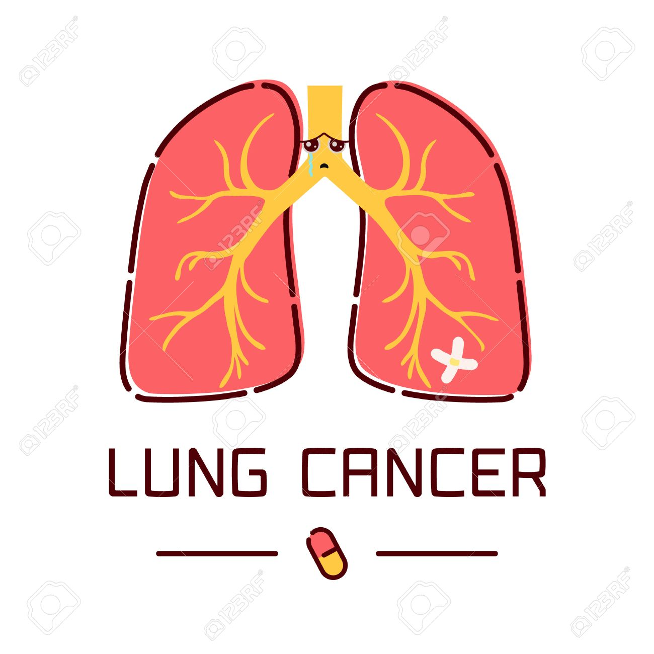 Lung Cancer Awareness Poster With Sad Cartoon Lungs Character ...