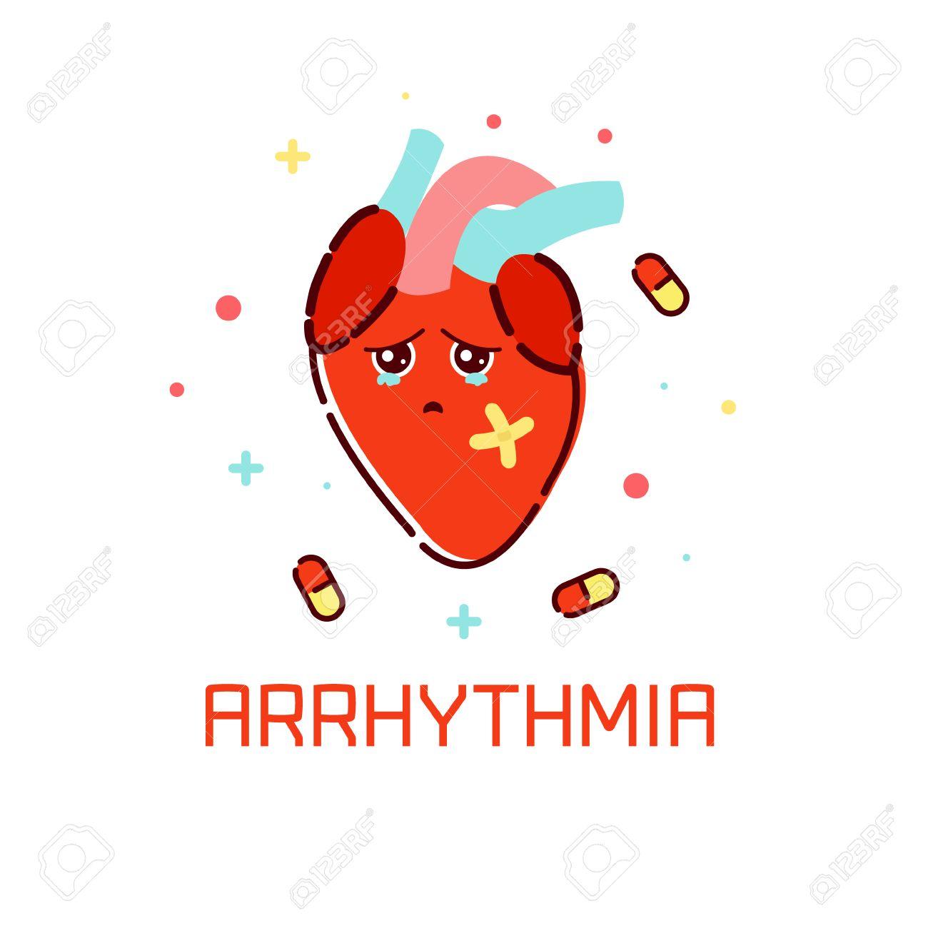 Cardiac Arrhythmia Disease Awareness Poster With Sad Cartoon ...