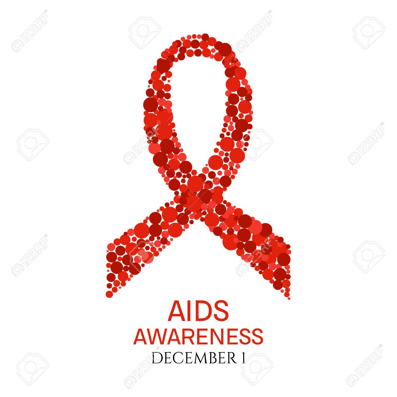 AIDS Awareness Poster. World AIDS Day Symbol. Red Ribbon Made ...