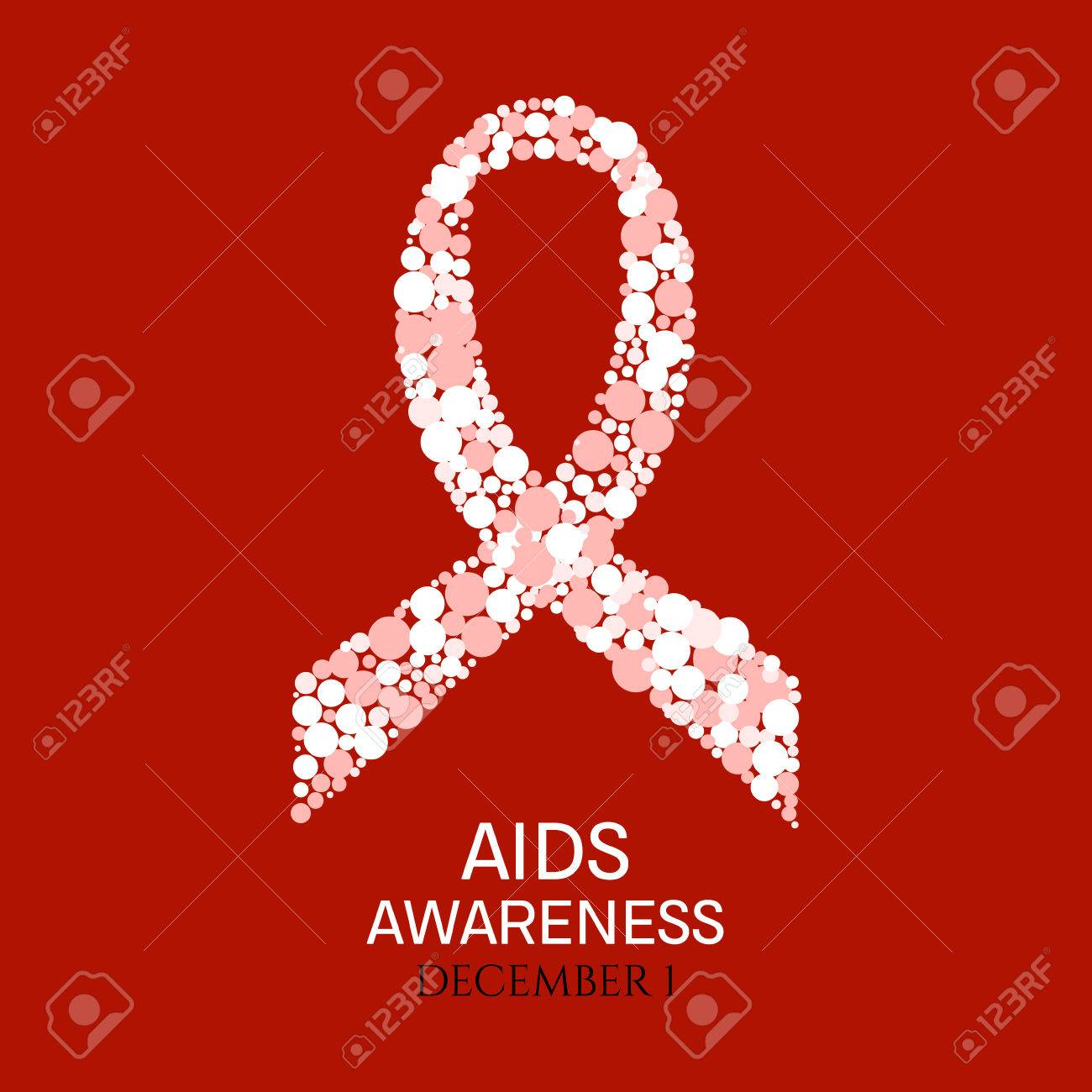 Aids Awareness Poster World Aids Day Symbol White And Pink
