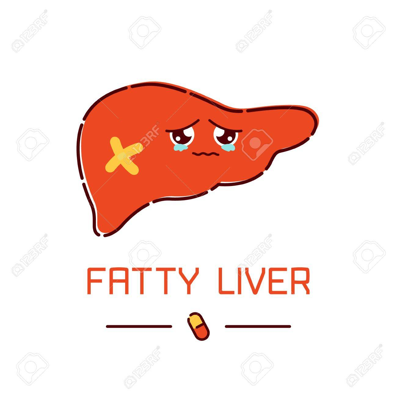 Fatty Liver Awareness Poster With Sad Cartoon Liver Character ...