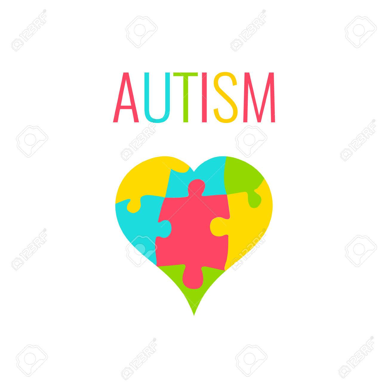 Autism Awareness Poster With Heart On White Background Heart