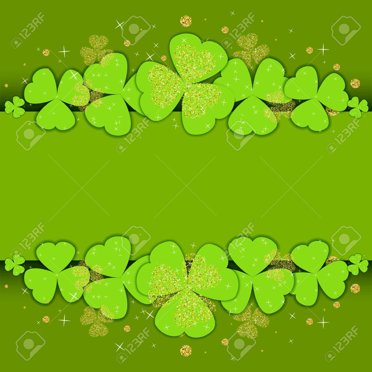 st patrick s day poster template with glitter clover and place