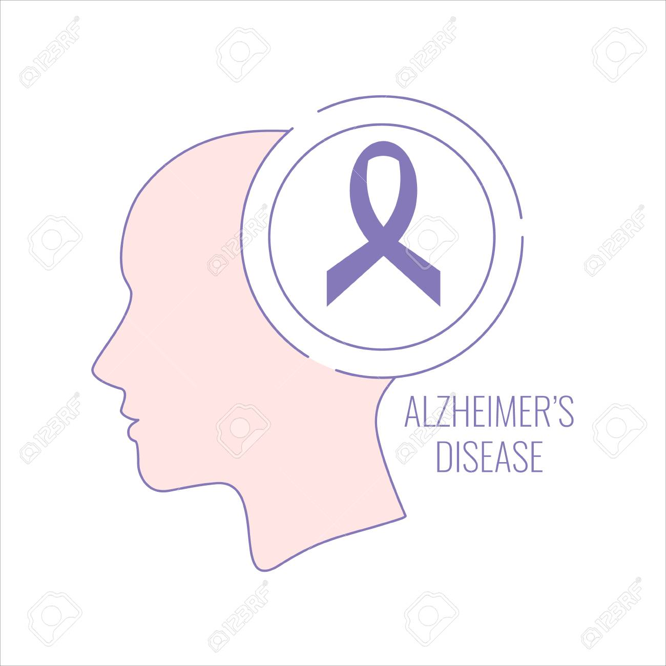 Alzheimer\'s Disease Poster With Woman\'s Silhouette And Purple ...
