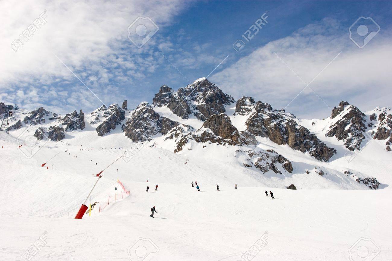 Piste at Courchevel ski resort, French Alps Stock Photo - 2767786