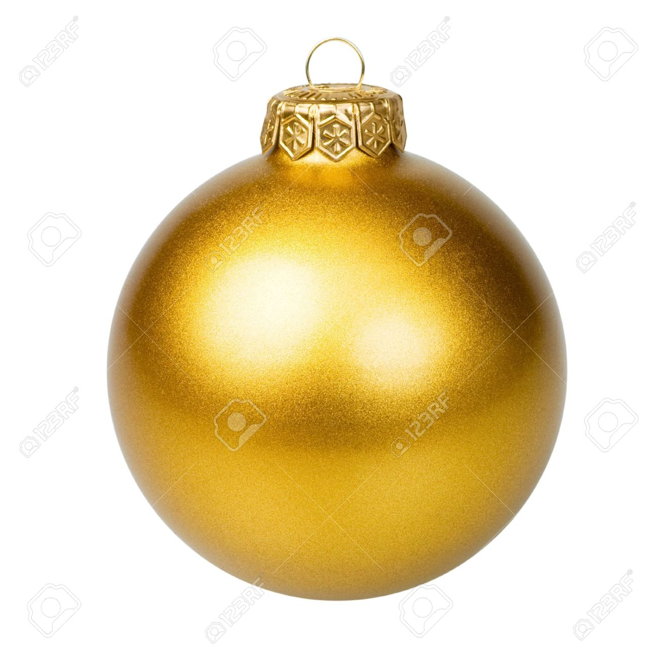 Golden Christmas Bauble On White Background Stock Photo, Picture ...