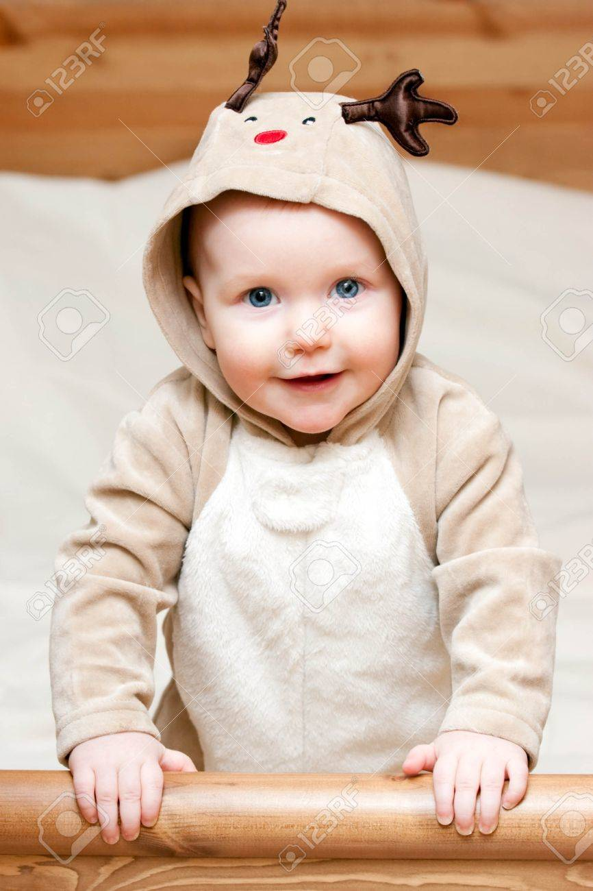 Little baby girl in deer costume Stock Photo - 4202567