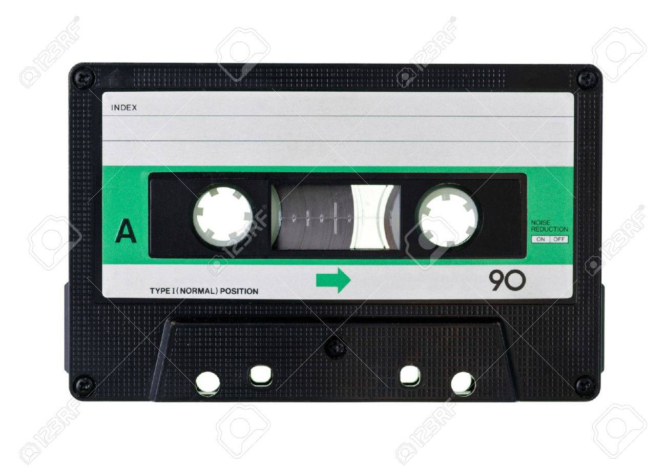 vintage compact cassette on white background stock photo picture