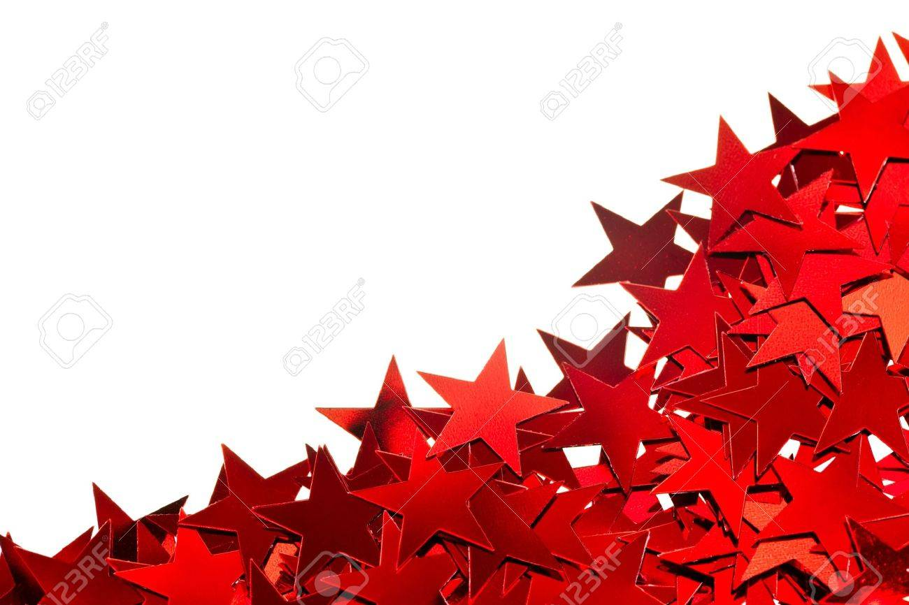 Red Star Shaped Confetti On White Background Stock Photo, Picture ...