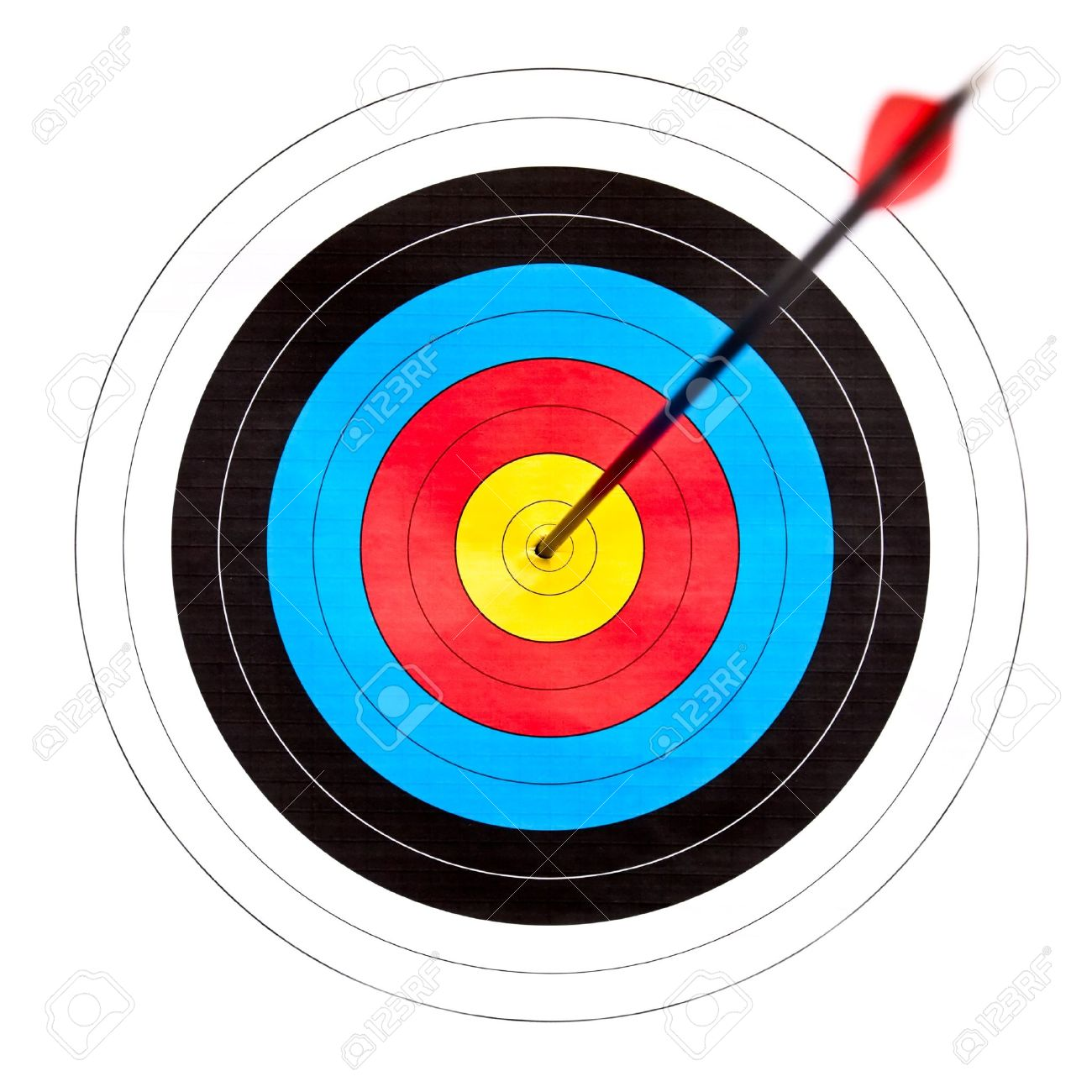 Archery Target With Arrow In The Bullseye Stock Photo Picture And