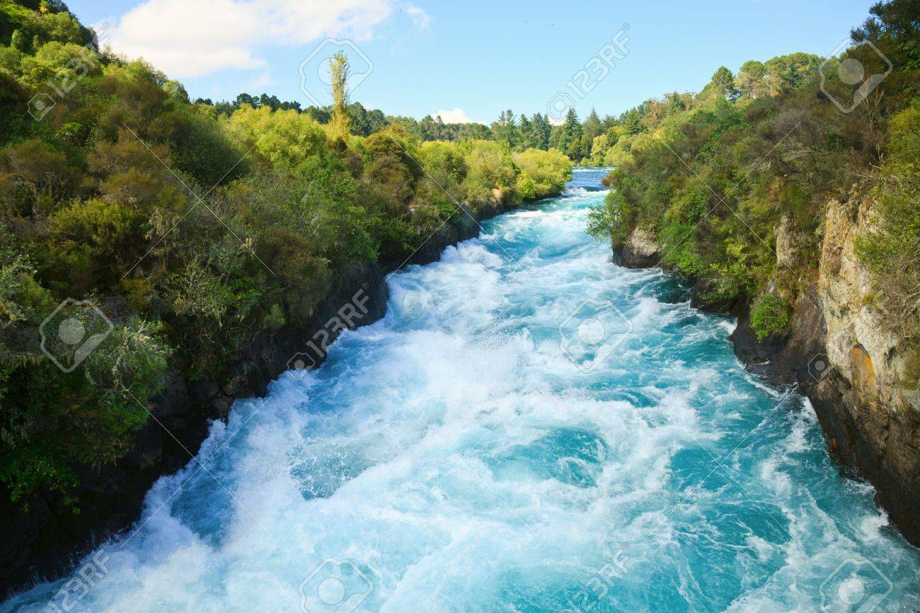 Narrow canyon of Huka falls on the Waikato River, New Zealand - 8077593