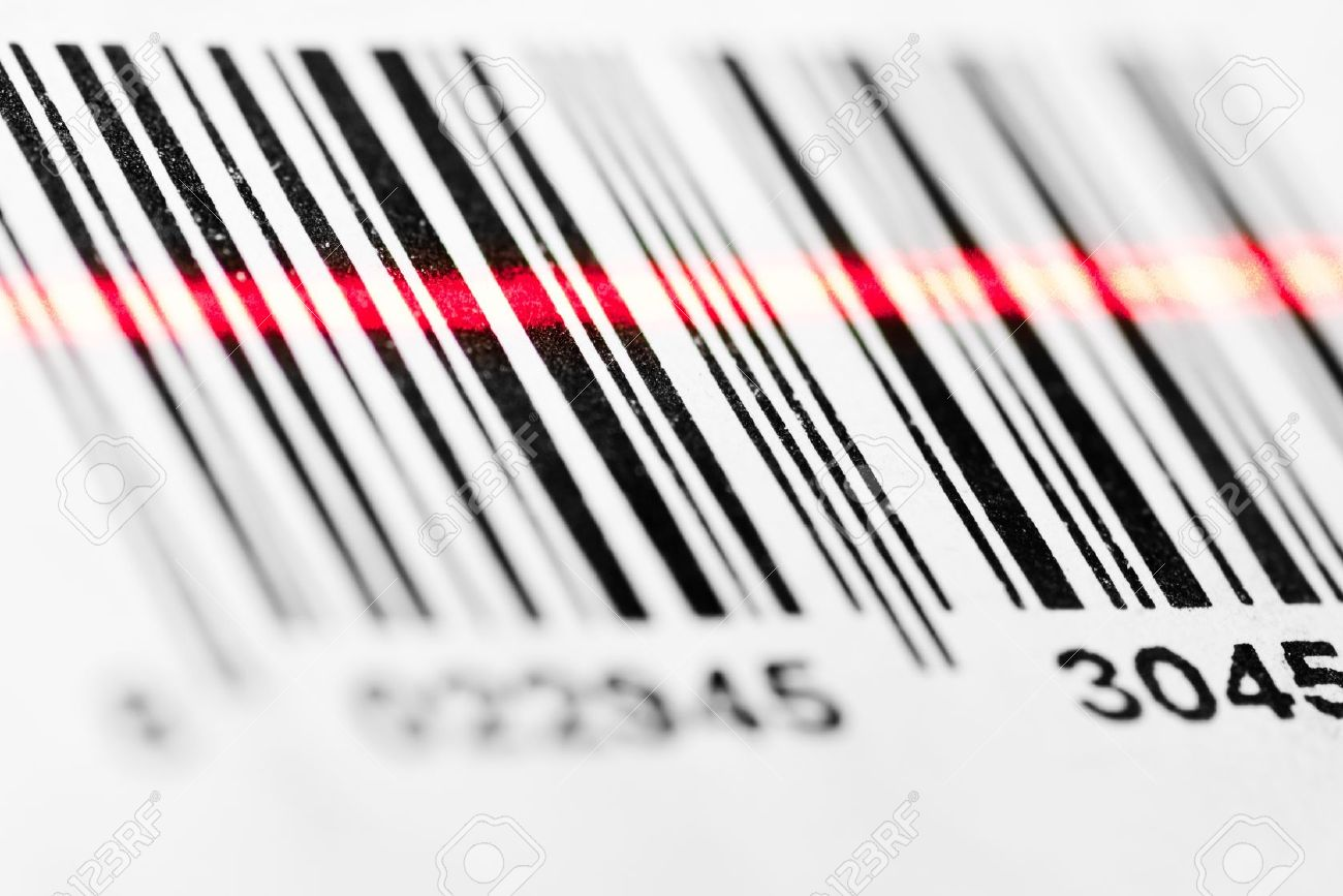 barcode scanning barcode scanned by laser reader closeup stock photo