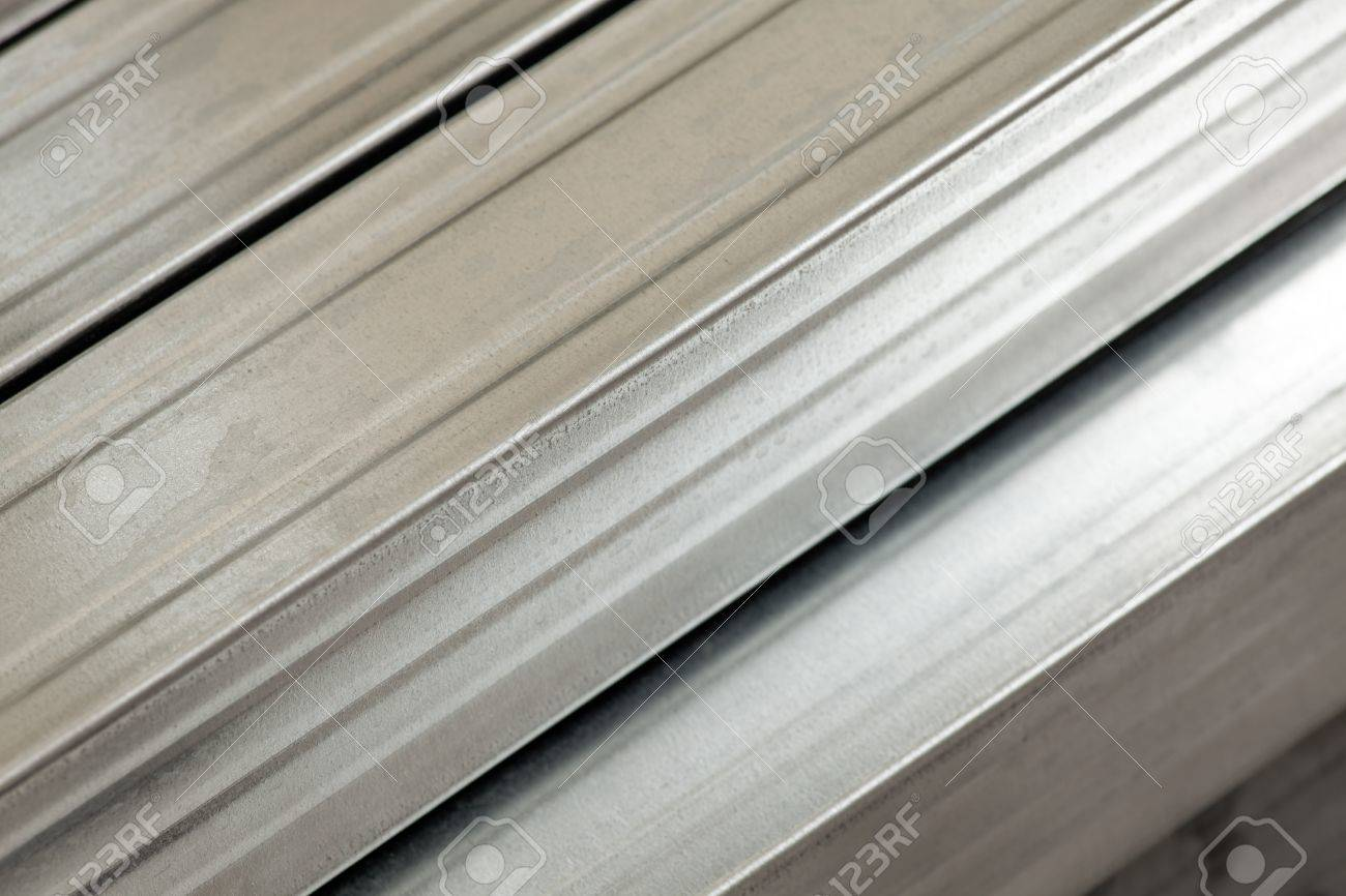 Close Up Of Galvanized Metal Studs Used In Light-frame Construction ...