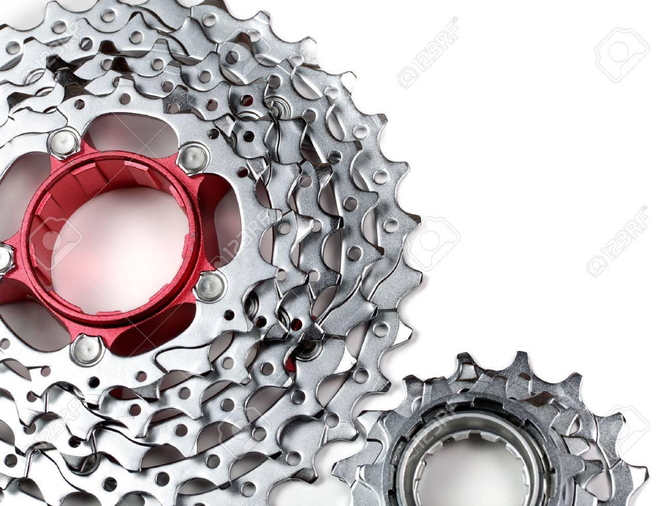 Mountain bike rear cassette on white background Stock Photo - 11293881