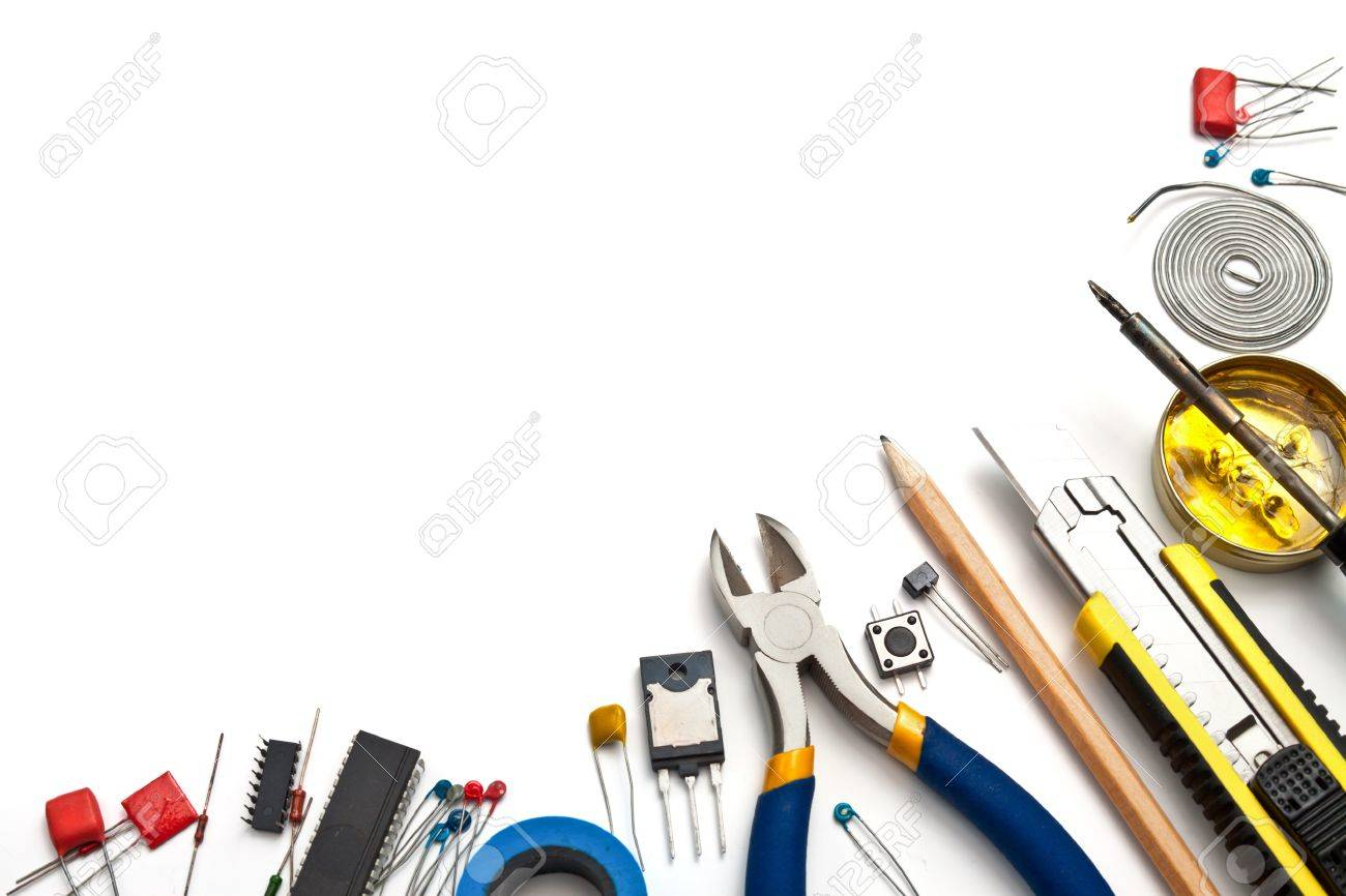 Set of electronic tools and components on white background Stock Photo - 13143194