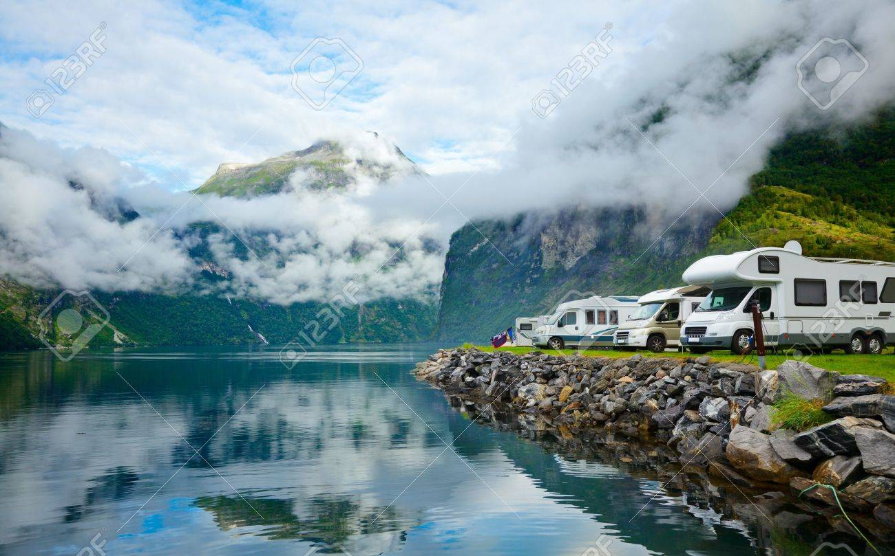 RV camping by a fjord in Norway Stock Photo - 14269418