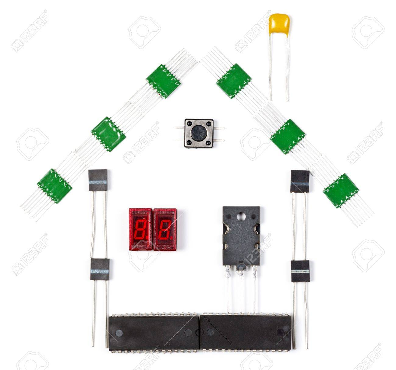 House made of electronic components on white background Stock Photo - 16878435