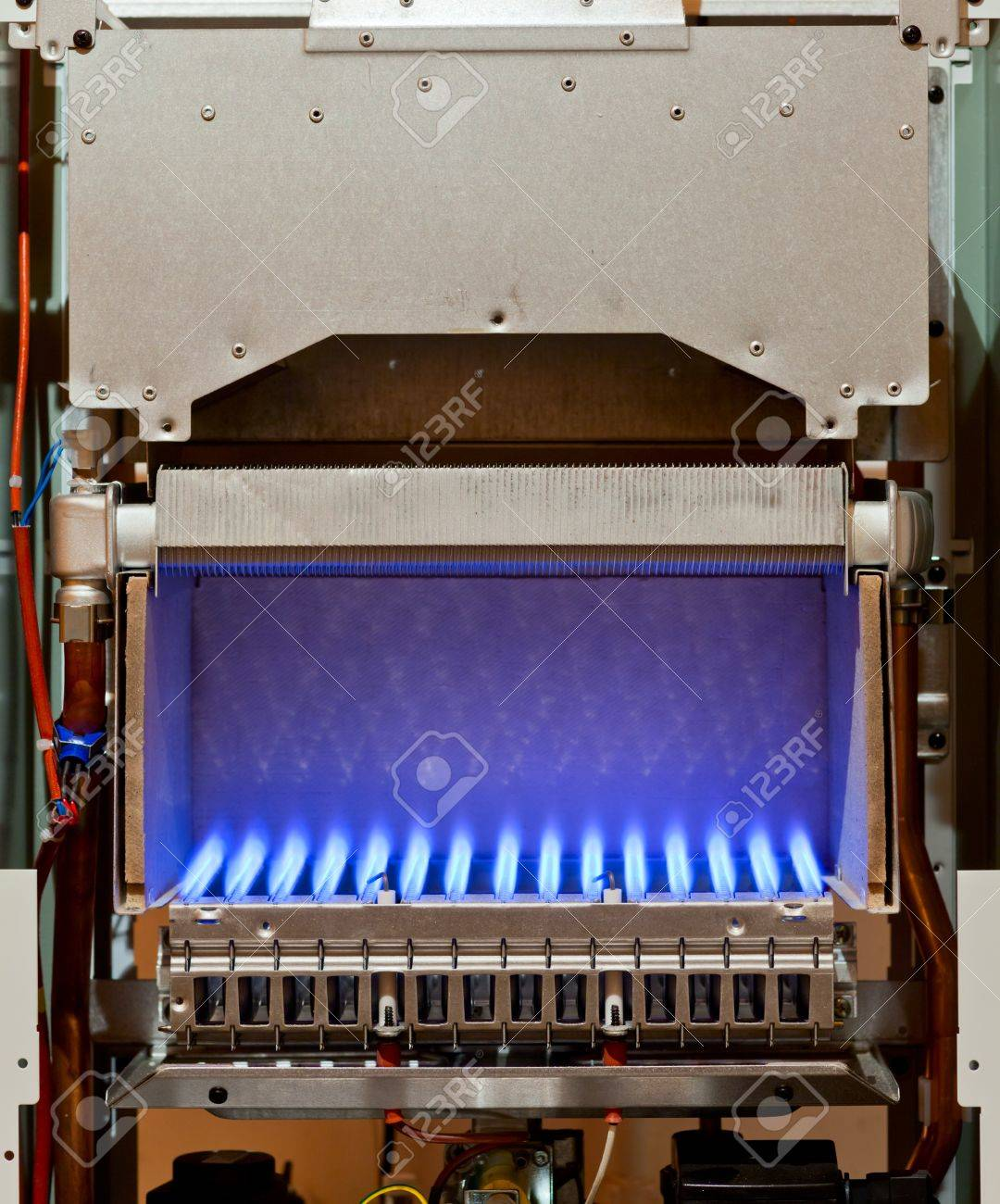 Gas Flame Inside Of The Gas Boiler Stock Photo, Picture And Royalty ...