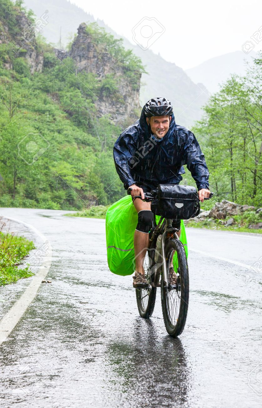 Cycle tourist on a road in Pontic Mountains of Northern Turkey - 29338665