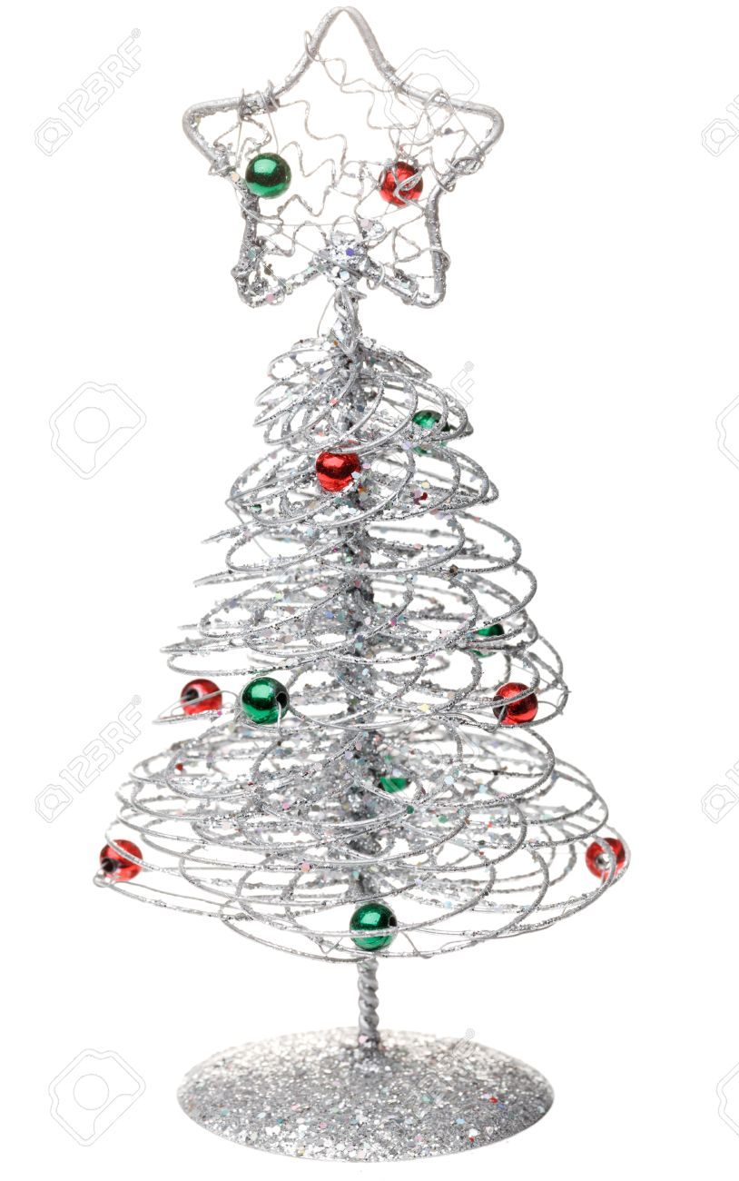 Small Tabletop Christmas Tree On White Background Stock Photo ...