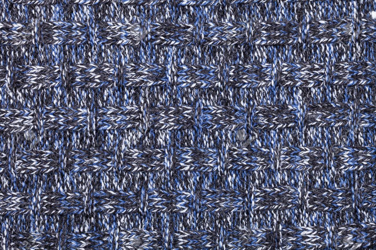 cd5f6ad6e85 Blue white black knitted fabric made of heathered yarn textured background  Stock Photo - 54639706