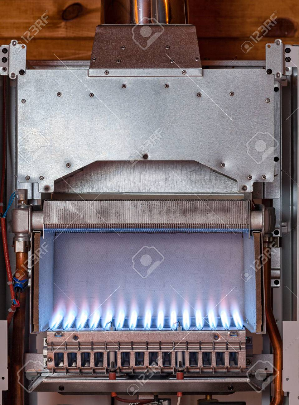 Gas Flame Inside Of The Gas Boiler Furnace Stock Photo, Picture And ...