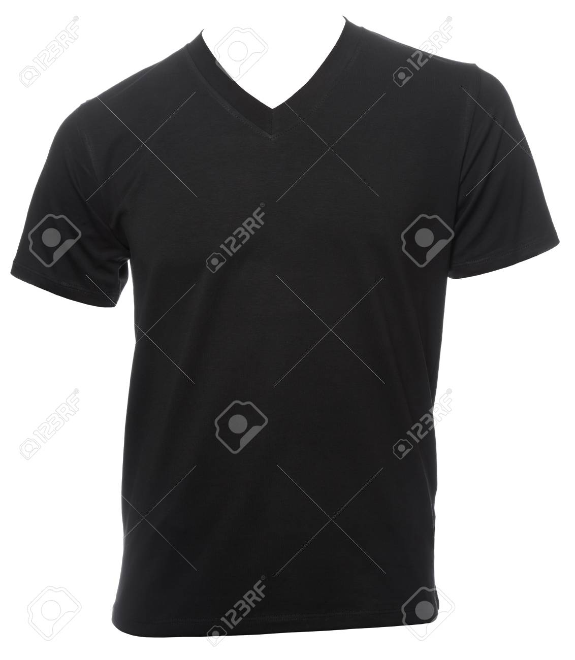 Black Plain Shortsleeve Cotton T Shirt Template Isolated On A