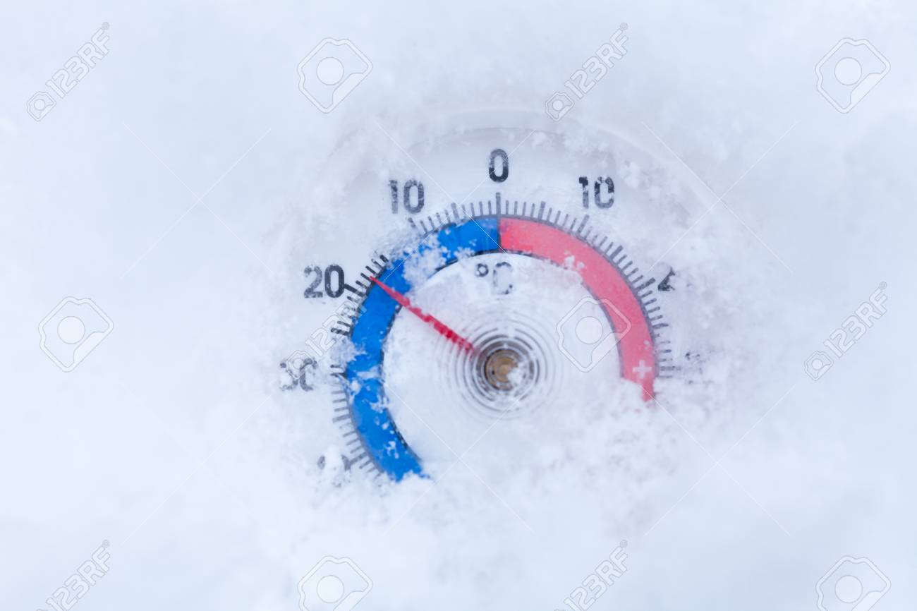 frozen thermometer with celsius scale showing sub zero temperature