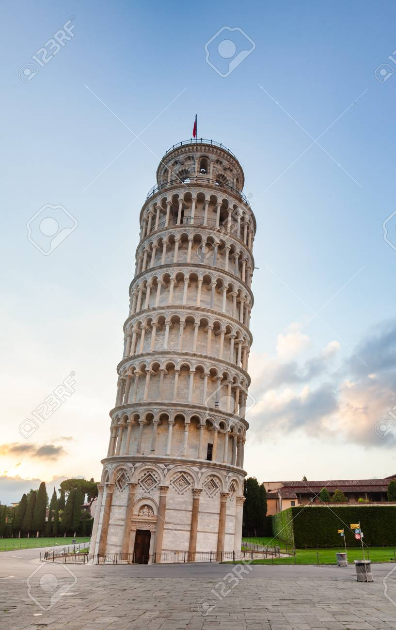 Medieval Leaning Tower of Pisa (Torre di Pisa), a freestanding campanile (bell tower) of the Pisa Cathedral at Piazza dei Miracoli (Square of Miracles) or Piazza del Duomo (Cathedral Square), in Pisa, Tuscany, Italy - 106611289