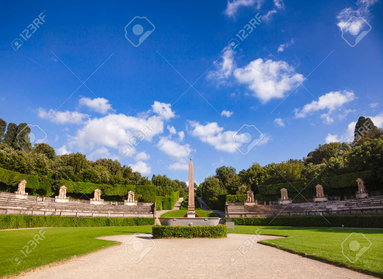 Boboli Gardens park primary axis amphitheater with Ancient Egyptian obelisk Florence, Tuscany, Italy - 167652419