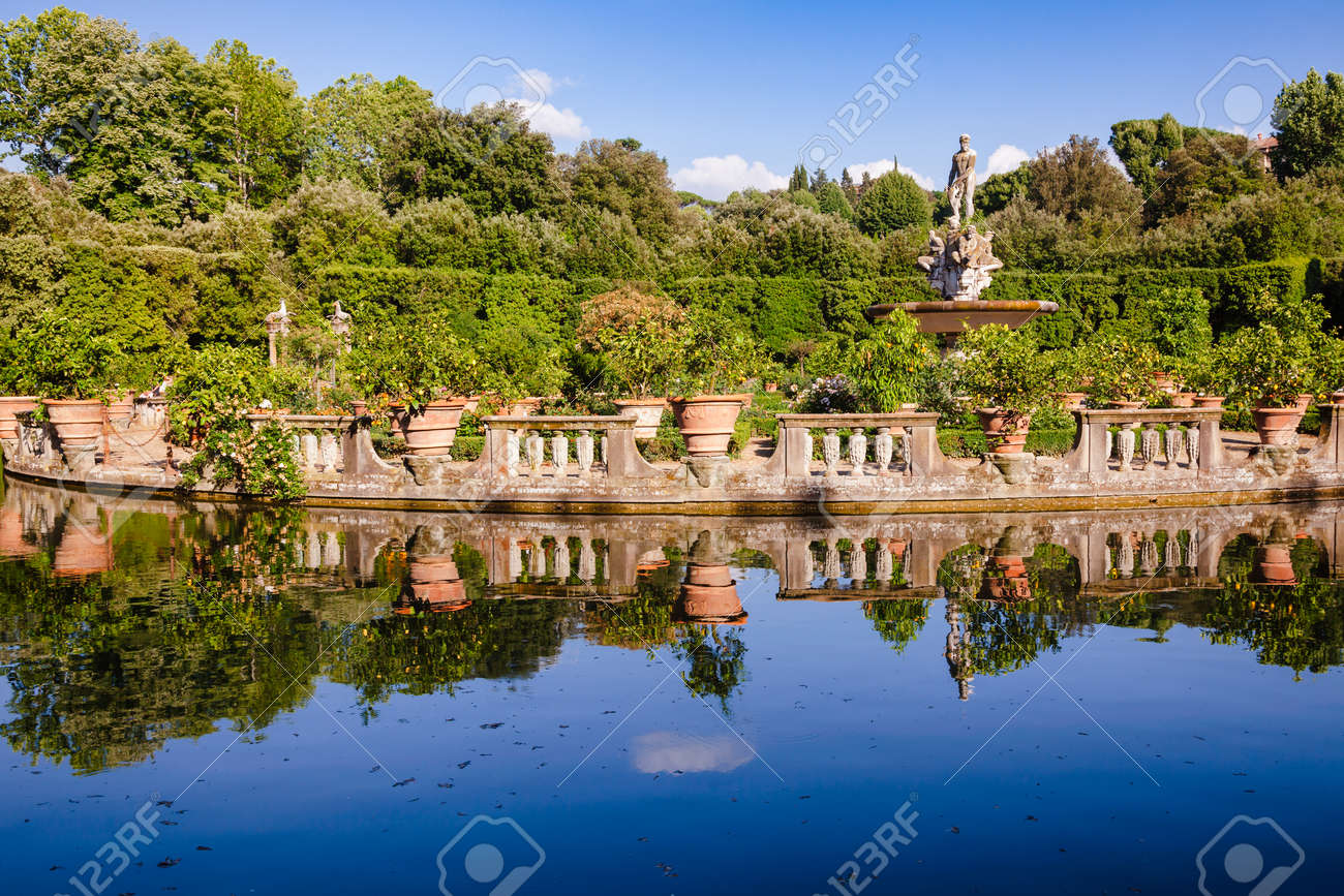 Boboli Gardens park Isolotto, an oval-shaped island in a pond at the end of the Viottolone axis, Florence, Tuscany, Italy - 167592740