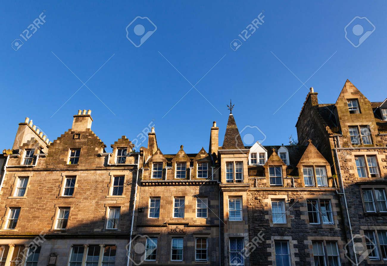 Typical sandstone terraced houses in Edinburgh, Scotland, UK - 165952953