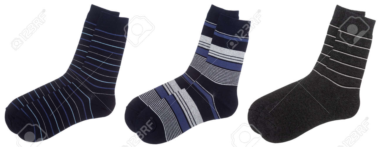 Three pairs of stripe cotton-blend socks of blue and grey colors isolated on a white background - 166378833
