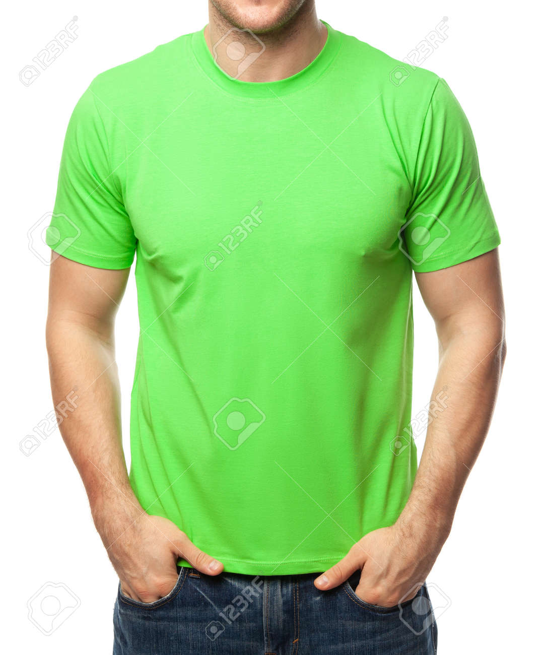 Young fit man wearing blank green shortsleeve cotton T-Shirt. Mock up template isolated on a white background - 166376767