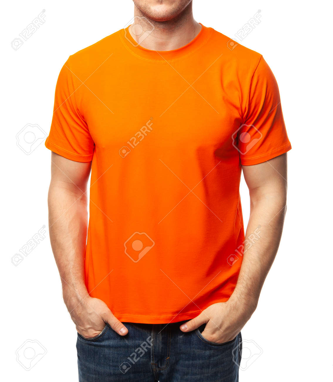 Young fit man wearing blank orange shortsleeve cotton T-Shirt. Mock up template isolated on a white background - 166590623