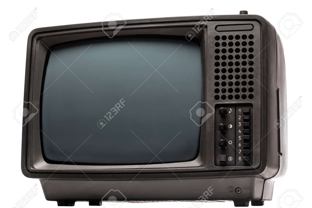 Vintage portable black and white CRT TV receiver isolated on white background. Retro technology concept - 166738311