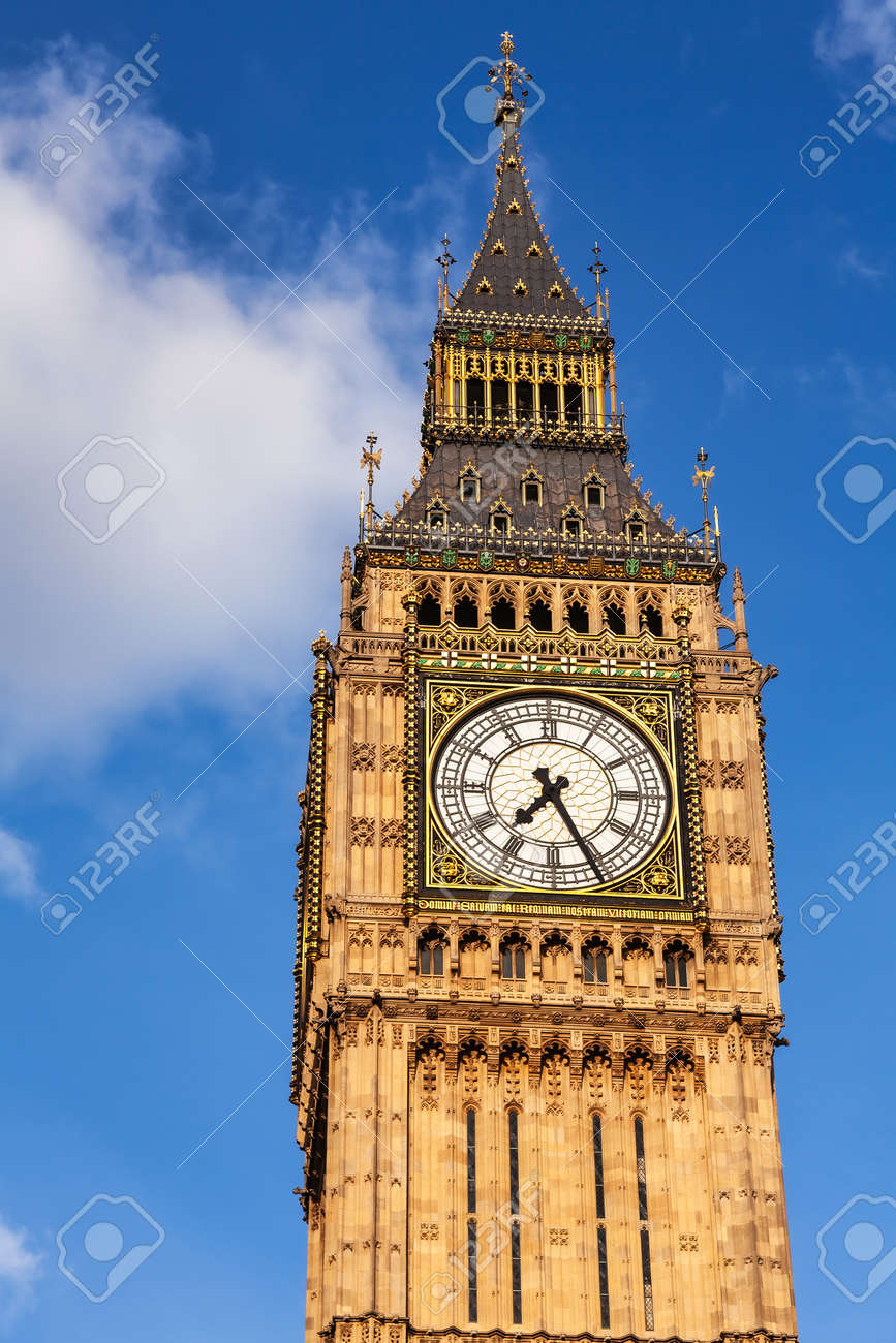 Upper part of Elizabeth Tower or Big Ben clock tower, Westminster Palace, City of Westminster, Central Area of Greater London, UK - 167120977