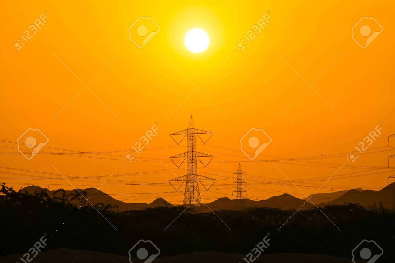 Sunset seen, mountain and electric tower silhouette - 149138705
